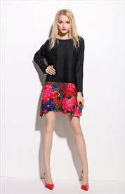 Black Long Sleeve Floral Embroidered A Line Casual Summer Dress