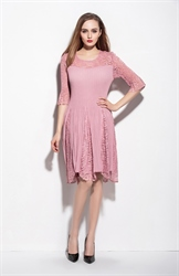 Pink Lace Illusion Neckline A Line Dress With 3/4 Sleeve