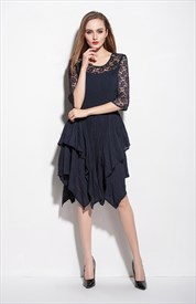 Navy Blue Lace Illusion Neckline Cocktail Dresses With 3/4 Sleeves