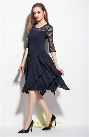 Navy Blue Lace Illusion Neckline Cocktail Dresses With 3 4