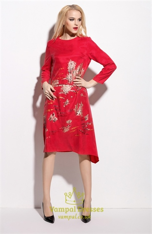 Casual Red Floral Print Knee Length Dress With Long