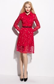 Red Long Sleeves Bow Tie Chiffon Shirt Dress With Belt