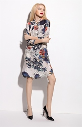 Champagne Floral Print Chiffon Shirt Dress With 3/4 Length Sleeve