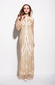 Gold Embellished Long Sheer Overlay Floor Length Sheath Dress
