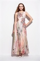 Peach Sleeveless Floral Print Long Chiffon Bead Embellished Dress