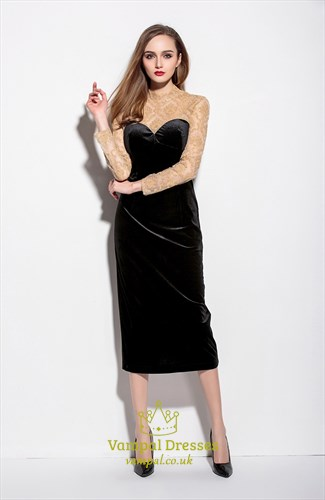 Black And Champagne Lace High Neck Tea Length Dresses With Long Sleeves