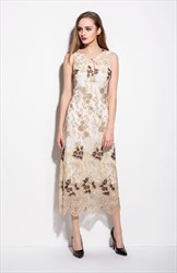 Champagne Sleeveless Keyhole Beaded Dress With Lace Applique