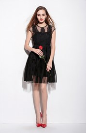 Black Sheer Illusion Neckline Cocktail Dress With Cap Sleeves