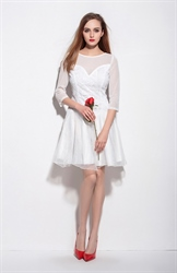 White Embellished Beaded Bodice Cocktail Dress With Sheer Sleeves