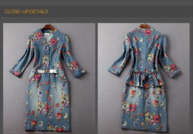 Flower Print  Button Closure Long Sleeve Denim Dress For Women