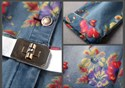 Flower Print  Button Closure Long Sleeve Denim Dress For Women