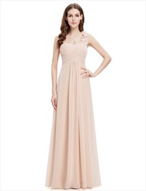 Champagne Sweetheart One Shoulder Chiffon Bridesmaid Dresses