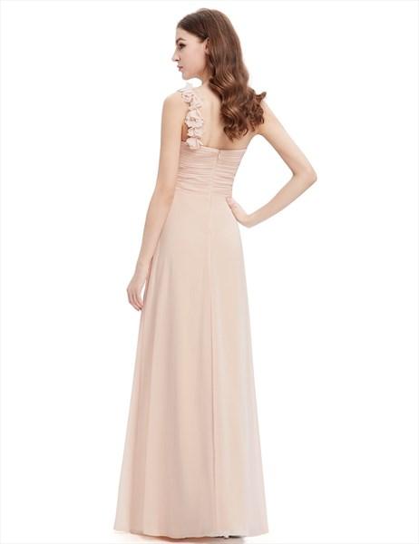 Champagne Sweetheart One Shoulder Chiffon Bridesmaid Dresses