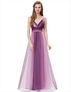 Purple Ombre Chiffon Prom Dresses With Criss Cross Open Back