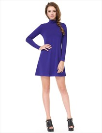 Simple Women's Royal Blue High Neck Collar Long Sleeve Comfy T-Shirt