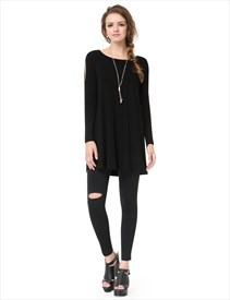 Simple Black Boat Neck Long Sleeve T Shirt Womens With Cutout Sleeves