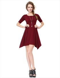 Women's Burgundy Short Sleeve Crew Neck Asymmetrical T-Shirt Dress