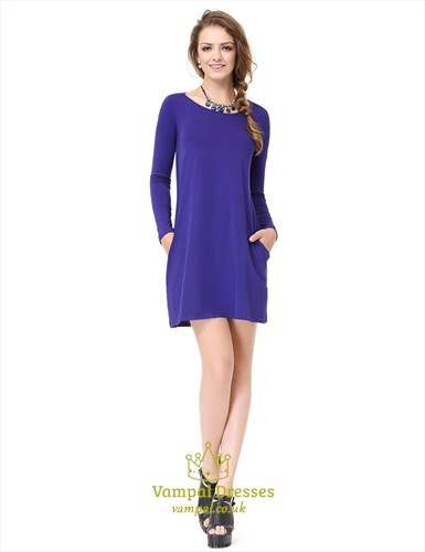 Women's Royal Blue Long Sleeve Crew Neck T Shirt Dress With Pocket