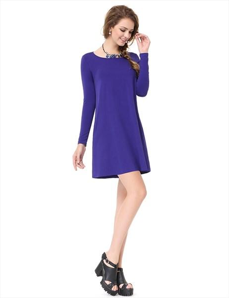 Women's Royal Blue Long Sleeve Crew Neck T Shirt Dress With Pocket