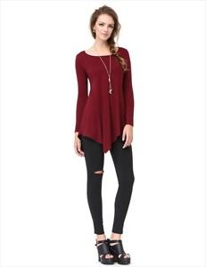 Classic Womens Burgundy Long Sleeve Asymmetrical T-Shirt Dress