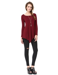 Classic Womens Burgundy Long Sleeve Asymmetrical T-Shirt Dress