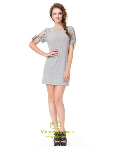 Grey Short Sleeve Crew Neck Loose T-Shirt Dress With Cutout Shoulders