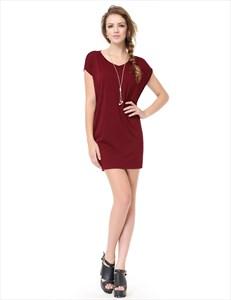 Womens Burgundy Short Sleeve Scoop Neck T-Shirt Dress UK