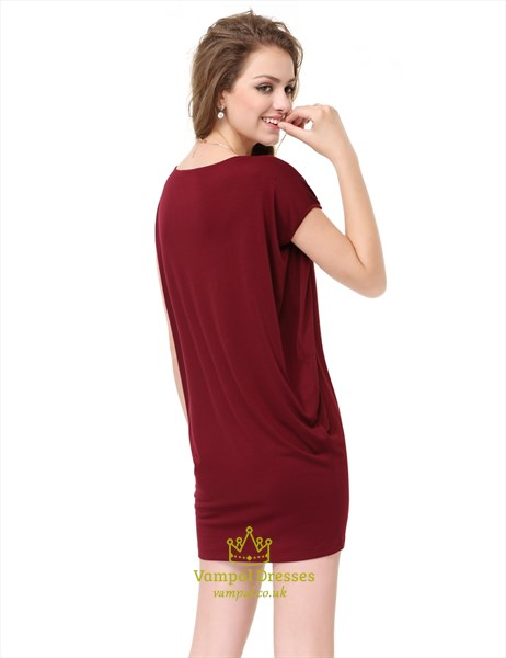 Womens Burgundy Short Sleeve Scoop Neck T-Shirt Dress UK