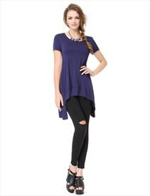 Women's Loose Short Sleeve Crew Neck Navy Blue T Shirt Dress