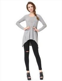 Womens Grey Long Sleeve Asymmetrical Draped Crew Neck T-Shirt Dress