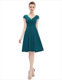 Elegant Dark Green V Neck Ruched Cap Sleeve Summer Casual Dress