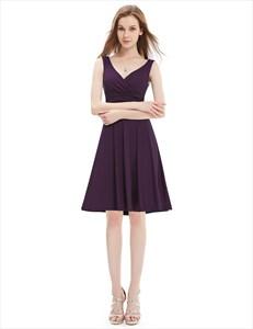 Stunning Grape V-Neck Sleeveless Knee Length Summer Cocktail Dresses