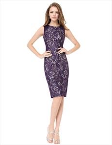 Purple Knee Length Lace Detail Sleeveless Grecian Party Pencil Dress