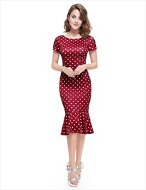 Polka Dot Mermaid Short Sleeve Sheath Casual Summer Dress  For Ladies