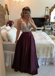 Sleeveless Deep V Neck White Beaded Bodice Red Pleated Prom Dress With Straps