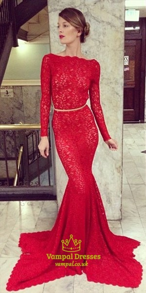 Red Lace Long Sleeve Backless Asymmetrical Hem Mermaid Prom Dress With Belt
