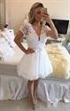 Lace Short Sleeve Beaded Bodice Deep V Neck Chiffon Prom Dress
