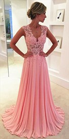 Pink Sleeveless Illusion Lace Applique Bodice V Neck Chiffon Prom Dress