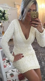 White Lace Deep V Neck Backless Long Sleeve Bodycon Dress With Beading