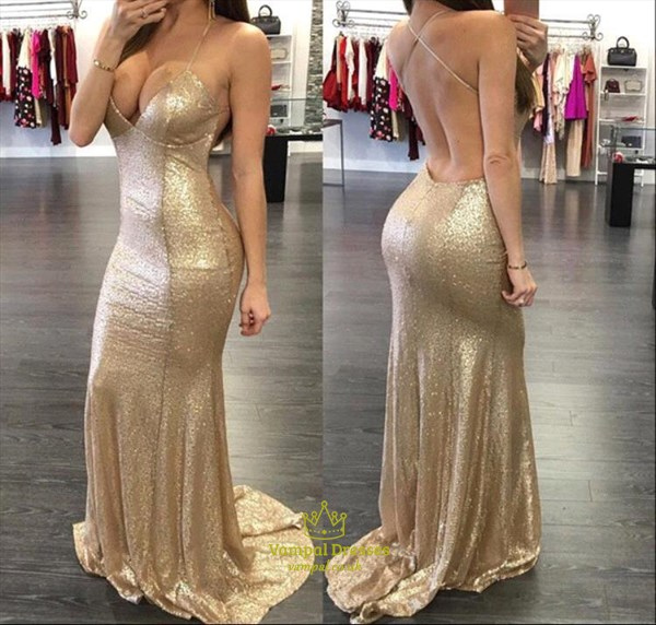 Gold Sequin Spaghetti Strap Deep V Neck Backless Mermaid Prom Dress
