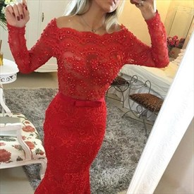 Red Lace Beaded Bodice Long Sleeve Mermaid Prom Dress With Ribbon