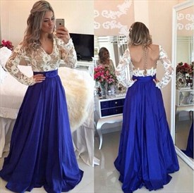 Lace Bodice Long Sleeve Backless V Neck Floor Length Prom Dress