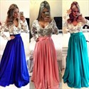Lace Bodice Long Sleeve Backless V Neck Floor Length Prom Dress