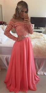 Off The Shoulder Illusion Lace Bodice Pleated Chiffon Long Prom Dress