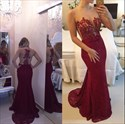 Red Strapless V Neck Floral Applique Lace Mermaid Prom Dress