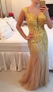 Sleeveless Beaded Floral Applique Illusion Back Mermaid Tulle Dress