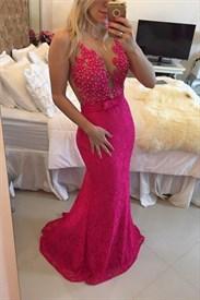 Fuchsia Sleeveless Illusion Beaded Floral Applique Lace Mermaid Dress