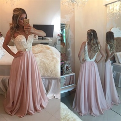 Strapless White Beaded Bodice Plunge Neckline Chiffon Prom Dress