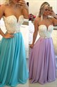 Strapless White Beaded Bodice Plunge Neckline Chiffon Prom Dress