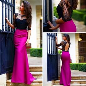 Sheer Lace Open Keyhole Back Mermaid Black And Fuchsia Prom Dress